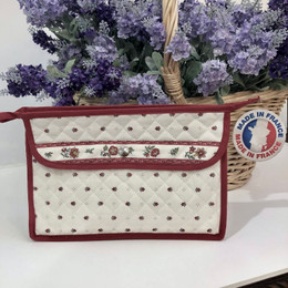 Make-up / Toiletry Bag Large Calissons Ecru/Red Made in France