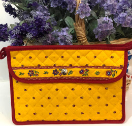 Make-up / Toiletry Bag Large Calisson Yellow/Red Made in France