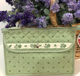 Make-up / Toiletry Bag Large Calisson Green/Ecru Made in France
