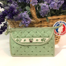 Make-up / Toiletry Bag Small Calisson Green/Ecru Made in France