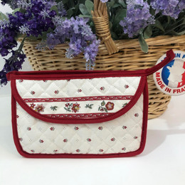 Make-up / Toiletry Bag Small Calisson Ecru/Red Made in France