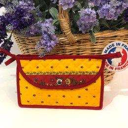 Make-up / Toiletry Bag Small Calisson Yellow/Red Made in France