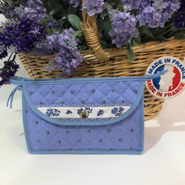 Make-up / Toiletry Bag Small Calisson Light Blue/Ecru Made in France