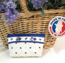 Coin/Cosmetic Bag Calissons White/Blue Made in France