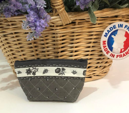 Coin/Cosmetic Bag Calissons Grey/Ecru Made in France
