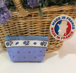 Coin/Cosmetic Bag Calissons Light Blue/Ecru Made in France