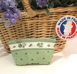Coin/Cosmetic Bag Calissons Green/Ecru Made in France