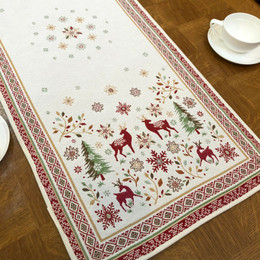 Vallee Red/Green 40x100cm French Thick Jacquard Tapestry Style Runner Made in France