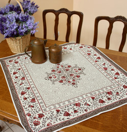 Aubrac Red 83x83cm Table Cover Made in France