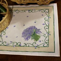 Lavender Ecru French Serviette Napkin Made in France