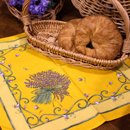 Lavender Yellow French Serviette Napkin Made in France