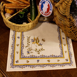 Moustiers Blue French Serviette Napkin Made in France