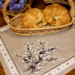 Olive les Baux Taupe French Serviette Napkin Made in France