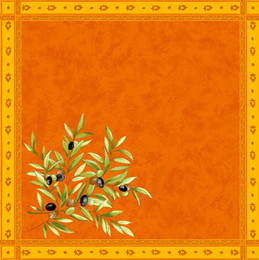 Olive les Baux Orange French Serviette Napkin Made in France