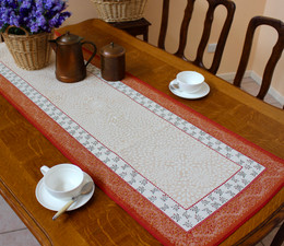 Aubrac Orange 48x163cm French Thick Jacquard Tapestry Style Runner Made in France