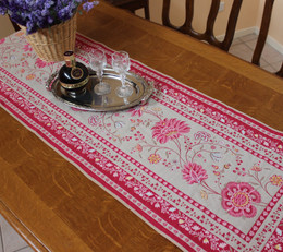 Montespan Lin/Pink 50x162cm French Thick Jacquard Tapestry Style Runner Made in France