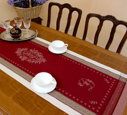 Monogramme Red 52x150cm Jacquard Runner Made in France