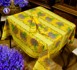 Lavender Yellow Square French Tablecloth 150x150cm Made in France