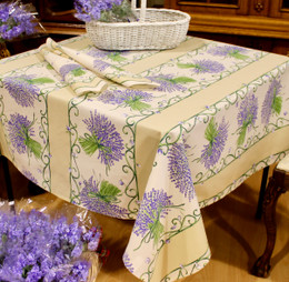 Lavender Ecru Square FrenchTablecloth 150x150cm Made in France