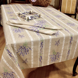 Valensole Lin Fench Tablecloth 155x200cm 6Seats COATED Made in France