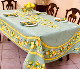 Lemon Green French Tablecloth 155x250cm 8seats COATED Made in France