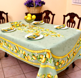 Lemon Green French Tablecloth 155x250cm 8Seats Made in France