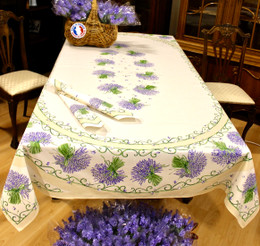 Lavender Ecru French Tablecloth 155x250cm 8seats COATED Made in France