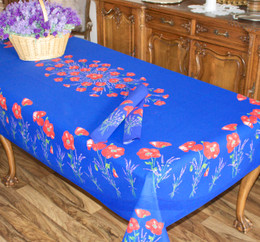 Poppy Blue French Tablecloth 155x250cm 8seats COATED Made in France
