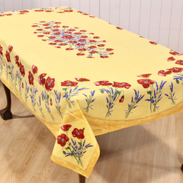 Poppy Yellow French Tablecloth 155x250cm 8Seats Made in France