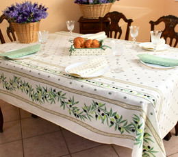 Ramatuelle Ecru French Tablecloth 155x250cm 8seats COATED Made in France