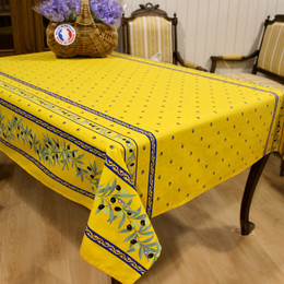 Ramatuelle Yellow/Blue French Tablecloth 155x250cm 8seats COATED Made in France