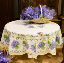 Lavender Ecru French Tablecloth Round 180cm COATED  Made in France