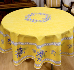Valensole Yellow French Tablecloth Round 180cm COATED Made in France