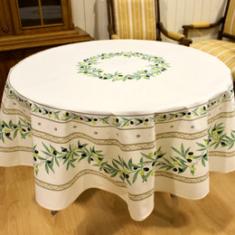 Ramatuelle Ecru French Tablecloth Round 180cm Made in France