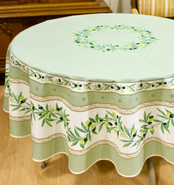 Ramatuelle Green French Tablecloth Round 180cm Made in France