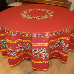 Ramatuelle Red French Tablecloth Round 180cm Made in France