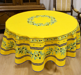 Ramatuelle Yellow/Blue French Tablecloth Round 180cm COATED Made in France