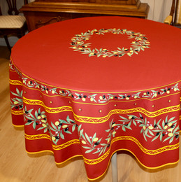 Ramatuelle Red French Tablecloth Round 180cm COATED Made in France