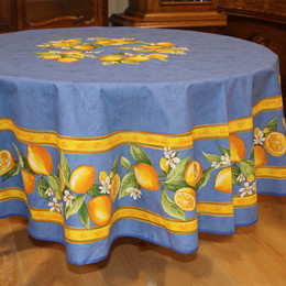 Lemon Blue French Tablecloth Round 180cm COATED Made in France