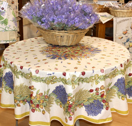Lavandes & Roses French Tablecloth  Round 180cm COATED Made in France
