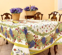 Lavender&Roses French Tablecloth 155x250cm 8seats COATED Made in France
