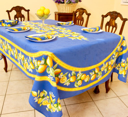 Lemon Blue French Tablecloth 155x250cm 8seats COATED Made in France