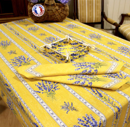 Valensole Yellow French Tablecloth 155x300cm 10Seats Made in France