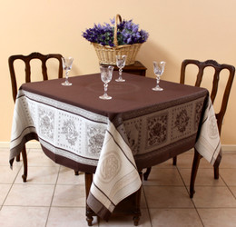 Monogramme Brown160x160cm Square Jacquard French Tablecloth Made in France