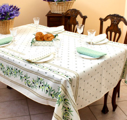Ramatuelle Ecru French Tablecloth 155x300cm 10seats COATED Made in France