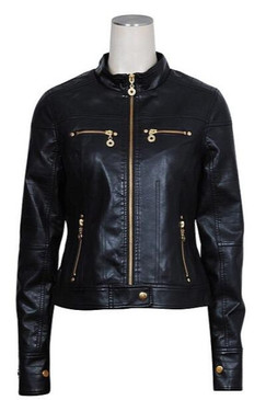 Super Cute Faux Leather Moto Jacket