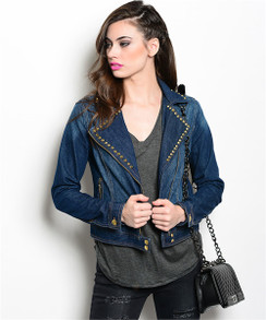 Dark Denim With Spikes Jacket