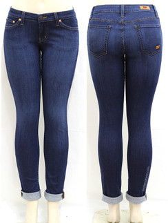 Gorgeous Blue Parkers Stretch Knit Skinny Roll-Up Ankle Jeans