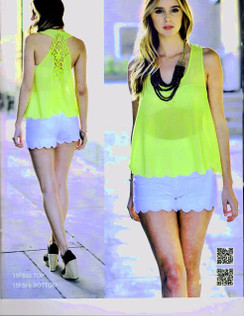 Gorgeous Neon Yellow Trending Scallop Edge Lace Back Top