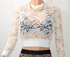 Gorgeous Ivory Stretch Lace Long Sleeve Cuff Top